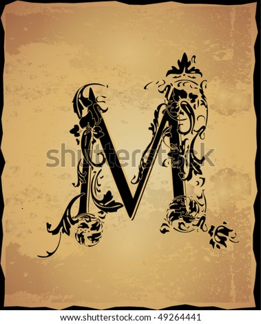 Initial Tattoo on Vintage Initials Letter M Stock Vector 49264441   Shutterstock