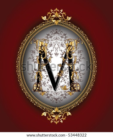 Vintage initials letter m stock vector illustration 53448322