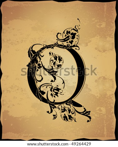 Vintage initials letter q stock vector illustration 49264429