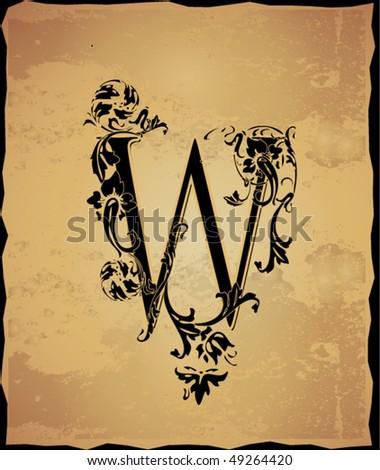 Vintage initials letter w