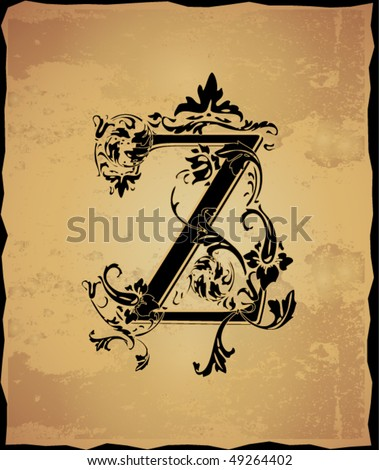 tattoo letters z. stock vector : Vintage initials letter z