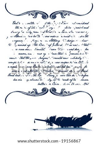 Vintage Ink Written Letter With Old Quill (Text part removable/editable)