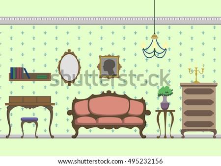 vintage interior flat vector