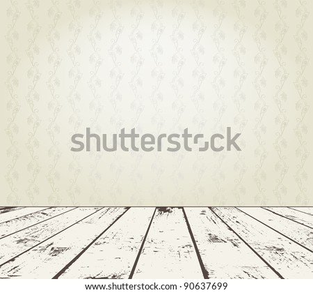 Vintage interior with floral wallpaper and grunge wooden plank