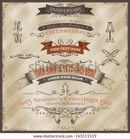vintage invitation and season's ...