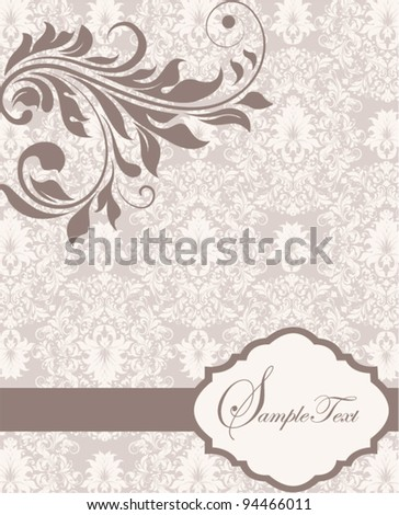 vintage invitation card with floral elements