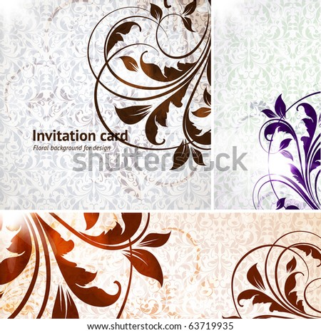 Vintage invitation complete card set for retro design with flowers and leafs. eps 10