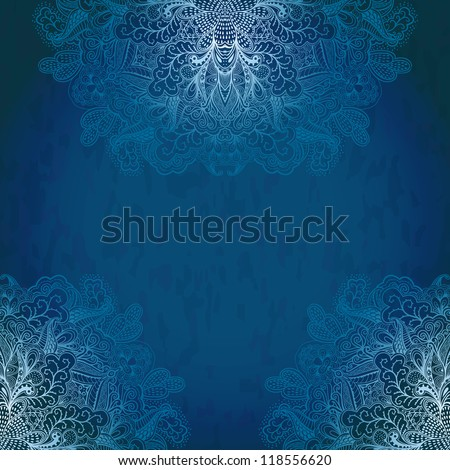 Vintage invitation decoration. Detailed ornament corners on grunge background with lace ornament. Template frame design in winter theme. Vintage Lace Doily.Can be used for packaging,invitations cards.