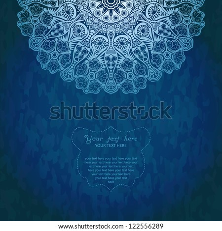 Vintage invitation decoration on grunge background with lace ornament. Template jewelry detailed lace design in winter theme. Doily.Can be used for packaging,invitations, scrapbooking.