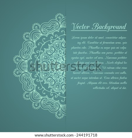Vintage invitation decoration with lace ornament. Template jewelry ...