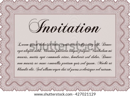 Vintage invitation. Excellent complex design. Vector illustration. With complex linear background.
