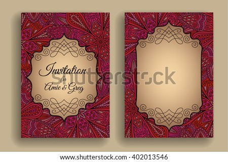 Vintage Invitation Template Boho Flower Pattern Elegant Badge Weave Decorative Border Text