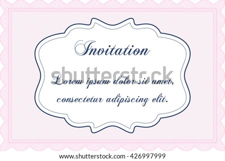 Vintage invitation template. Elegant design. Vector illustration. With guilloche pattern.