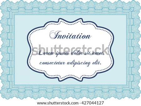 Vintage invitation template. Vector illustration. Elegant design. With guilloche pattern.