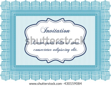 Vintage invitation template. Vector illustration. With guilloche pattern and background. Excellent complex design.
