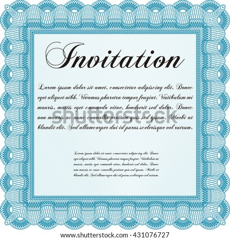 Vintage invitation template. Vector illustration. With guilloche pattern. Elegant design.