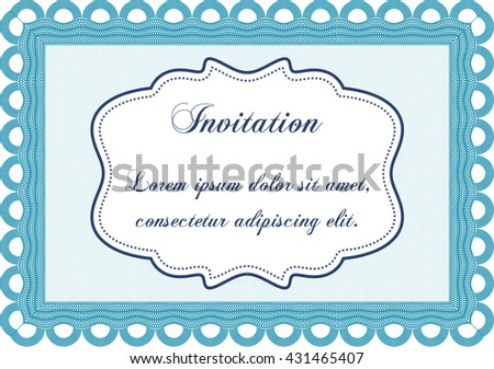 Vintage invitation template. With guilloche pattern and background. Vector illustration. Elegant design.