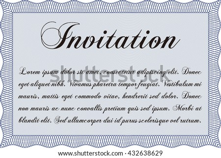 Vintage invitation. Vector illustration. With guilloche pattern and background. Excellent complex design.