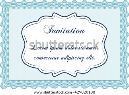 Vintage invitation. With complex linear background. Vector illustration. Artistry design.