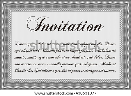 Vintage invitation. With guilloche pattern and background. Excellent complex design. Vector illustration.