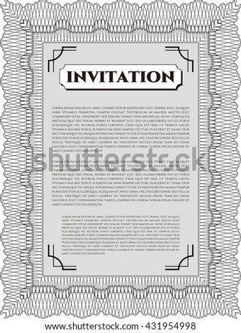 Vintage invitation. With guilloche pattern and background. Vector illustration. Excellent complex design.