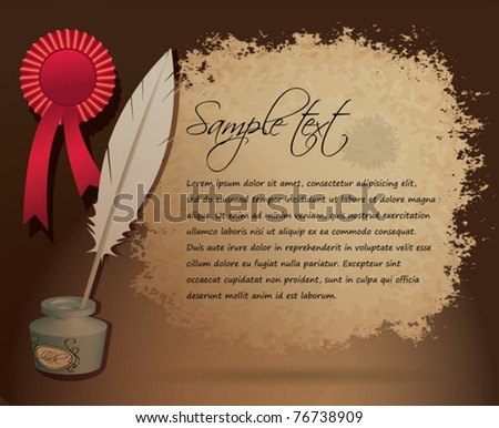 Vintage invitation with place for your text - vector illustration with old parchment, ink bottle with writing feather and red ribbon