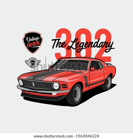 Vintage Iron – the legendary – red muscle car 302, Fast Muscle Car, Vintage Car