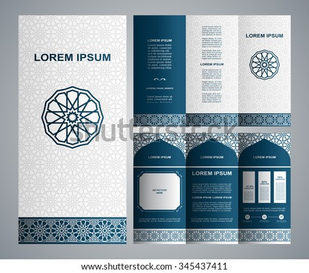 Vintage islamic style brochure and flyer design template with logo, creative art elements and ornament, page layouts, classic blue and white colors and artistic solutions for design and decoration