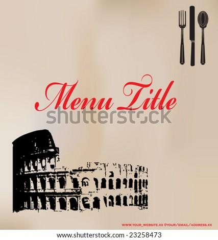 Vintage Italian Menu, Vector Template