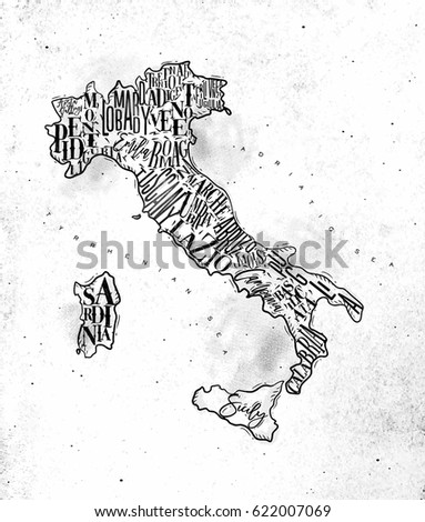 vintage italy map with regions...