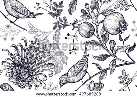 stock-vector-vintage-japanese-chrysanthemum-flowers-pomegranates-branches-leaves-and-birds-vector-seamless