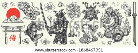Vintage japanese elements collection with fantasy dragon samurai warrior and mask flowers katana koi carp torii gate snakes fujiyama mountain tsunami waves red sun isolated vector illustration