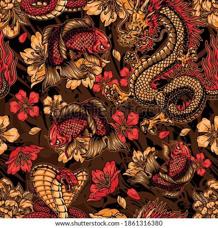 Vintage japanese elements seamless pattern with fantasy dragon snake koi carp sakura and chrysanthemum flowers vector illustration