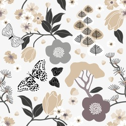 Vintage Japanese print. Monochrome seamless vector pattern inspired by kimono art. Beautiful flowers, trees and leaves on white background. Retro textile collection.