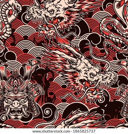 Vintage japanese seamless pattern in monochrome style with poisonous snake fantasy dragon head samurai mask in helmet on waves background vector illustration