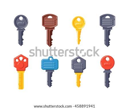 Vintage key antique door key isolated on white background