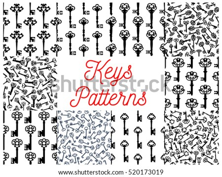 Vintage Key Seamless Pattern Set Of Old Door And Victorian Skeleton Decorated By Gothic