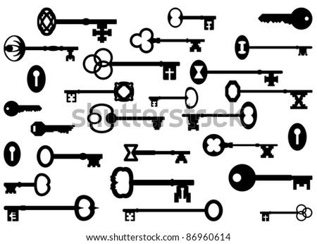 Vintage key silhouettes - stock vector