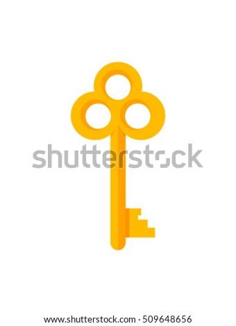 Vintage key vector illustration isolated on white background, cartoon retro golden key icon flat design
