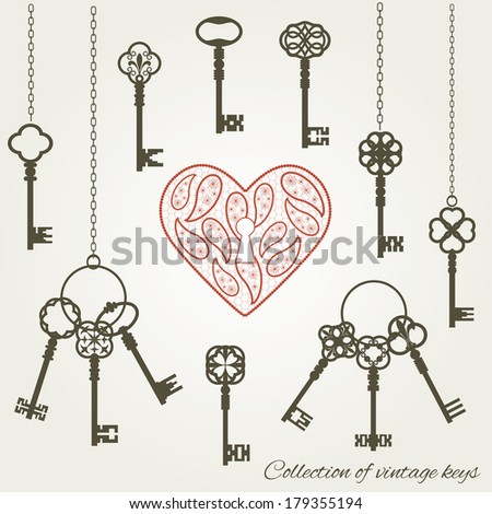 vintage keys and keyhole in the