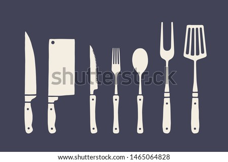 Vintage kitchen set. Set of meat cutting knife, fork, spoon, old school graphic elements. Set of kitchen equipment - butcher chef knife, meat knife, fork, spoon, table knife. Vector Illustration