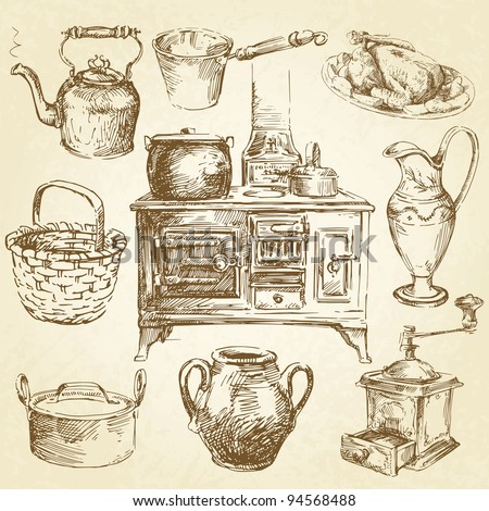 vintage kitchenware - hand drawn set
