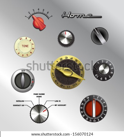 vintage knobs dials and buttons