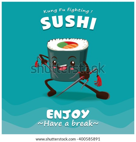 vintage kung fu sushi poster