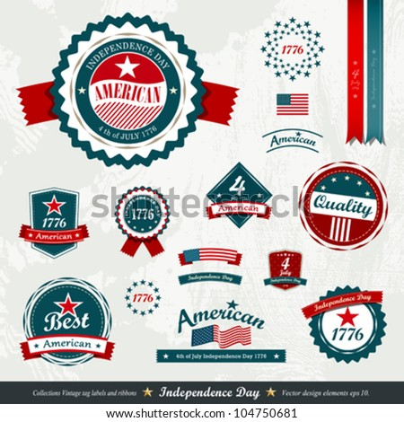 Vintage label and tag set, independence day. vector illustration