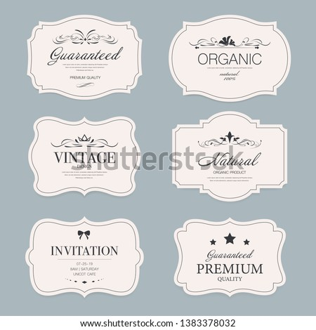 Vintage label banner badges set. Luxury decoration design. Hign quality tag premium guaranteed. #1383378032