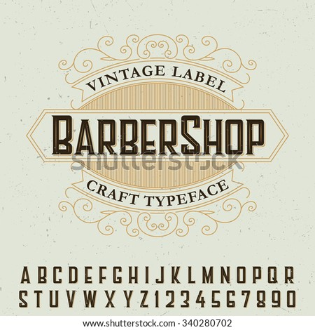 vintage label barber shop craft