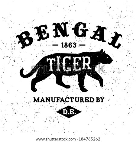 vintage label Bengal Tiger T-Shirt Print