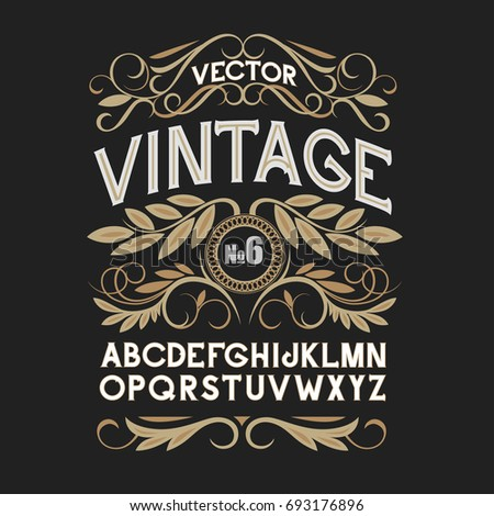 vintage label font. alcohol...