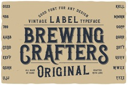 Vintage label font named Falange. Retro typeface with letters and numbers for any your design like posters, t-shirts, logo, labels etc.